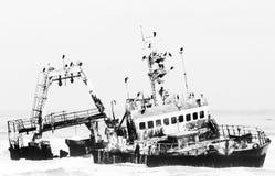 Shipwreck of the Zeila near Henties Bay. Monochrome stock photos