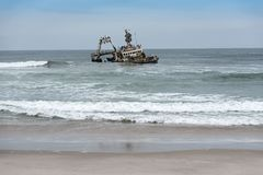 Shipwreck Zeila near Henties Bay on the Skeleton Coast of Namibia.  royalty free stock images