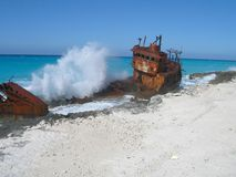 Shipwreck5. A wrecked frieghter on the coast of Bimini Stock Photo