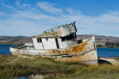 Shipwrecked Boat. A Shipwrecked Boat in Tomales Bay California Royalty Free Stock Photography