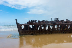 Shipwrecked liner S.S. Maheno on the coast of Fraser Island in Queensland, Australia royalty free stock images