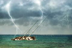 Shipwreck in Tropical Storm royalty free stock photos