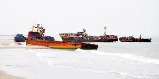Shipwrecks at Barro Do Dande Royalty Free Stock Images