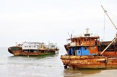 Shipwrecks at Barro Do Dande Royalty Free Stock Photos