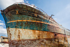 Shipwrecks in Brittany. Shipwreck with blue sky in the background in camaret-sur-mer, Brittany, France, Europe Stock Photo