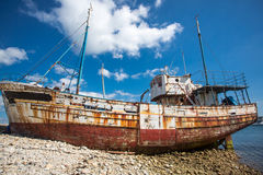 Shipwrecks in Brittany. Shipwreck with blue sky in the background in camaret-sur-mer, Brittany, France, Europe Stock Photos