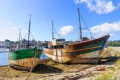Shipwrecks in Camaret-Sur-Mer. View of Shipwrecks, in Camaret-Sur-Mer, Brittany, France Royalty Free Stock Images