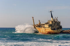 Shipwrecks in the sea with Cyprus Royalty Free Stock Photo
