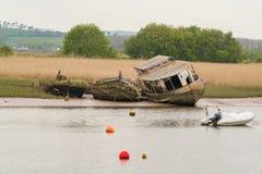 Shipwrecks , Topsham, Devon, UK. Shipwrecks at the shore of the Exminster Marshes, seen from Topsham, Devon, UK Royalty Free Stock Photo