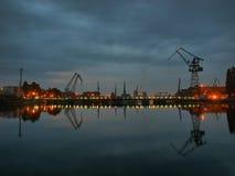 Shipyard. Gdansk shipyard at dawn, Poland Stock Photos