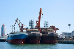 Shipyard. Three ships stopped at the shipyard dock,taken in china Stock Photography
