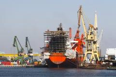 Shipyard. A ship under repair at shipyard Remontowa, Gdansk, Poland Royalty Free Stock Images