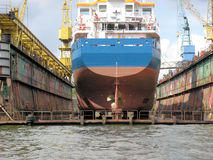 At the shipyard. A cargo-ship at the dry-dock. Hamburg, germany royalty free stock images