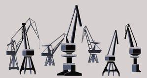 Shipyard. Group of cranes, Illustration Stock Image