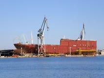 Shipyard. Making a ship at a shipyard Royalty Free Stock Images