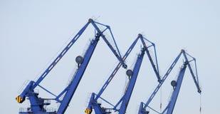 Shipyard. A shipyard. Group of cranes Royalty Free Stock Photo