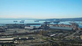 Shipyard Aerial. V30 Flying low besides large commercial shipyard stock video