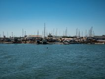 Ship yard, Algarve region, Portugal with several boats in various stages of repair royalty free stock image