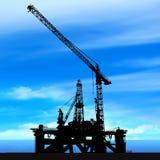 Shipyard on blue sky background Stock Photos
