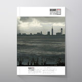 Shipyard and city landscape. Brochure, flyer or Stock Photography