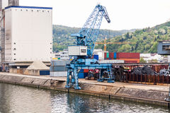 Shipyard with containers and cranes Stock Photos