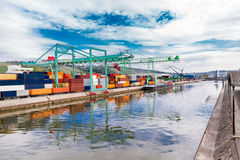 Shipyard with containers and cranes Royalty Free Stock Photography