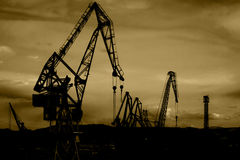 Shipyard cranes royalty free stock photos