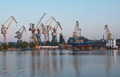 Shipyard cranes. Shipyard with colorful cranes in early morning near loading docks Stock Photos
