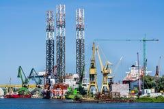 Shipyard cranes in shipyard Gdansk, Poland royalty free stock photography