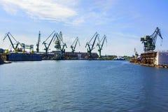 Shipyard cranes in shipyard Gdansk, Poland stock photography