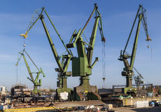The shipyard cranes Stock Photo