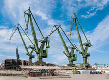 Shipyard cranes in Gdansk, Poland Stock Image