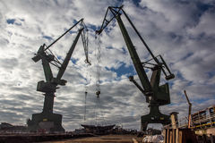 Shipyard cranes in Gdansk, Poland Stock Photo