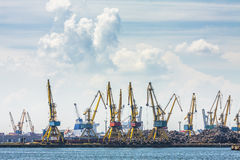 Shipyard, cranes and iron waste Stock Images