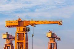 Shipyard Cranes in the morning Stock Image