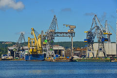 Shipyard with cranes Royalty Free Stock Photos