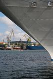 Shipyard with cranes and ships Royalty Free Stock Images