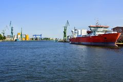 Shipyard cranes in shipyard Gdansk, Poland stock images