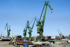 Shipyard cranes in shipyard Gdansk, Poland stock photos