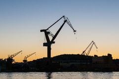 Shipyard cranes twilight Gothenburg Royalty Free Stock Photos