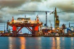 Shipyard at dusk Royalty Free Stock Images