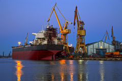 Shipyard at dusk Royalty Free Stock Photos