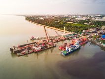 Shipyard at estuary at Samutphrakarn industrial area in Thailand Stock Photography