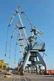 Shipyard in galati, romania. Big cranes in the shipyard of Galati, Romania royalty free stock photos