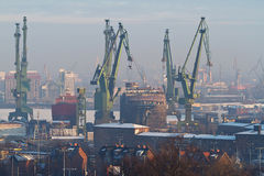 Shipyard in Gdansk. At winter Royalty Free Stock Photo