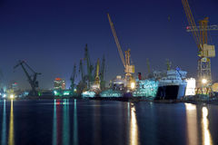 Shipyard of Gdansk at night. View of the quay shipyard of Gdansk, Poland Royalty Free Stock Photography