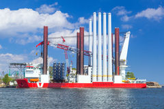 Shipyard in Gdynia with wind turbine installation vessel Stock Images