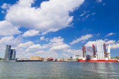 Shipyard in Gdynia with wind turbine installation vessel Stock Photos