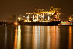 Shipyard Harbor at night Stock Photo