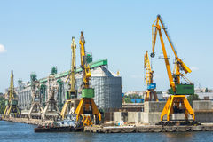 Shipyard and heavy load cranes Stock Photos